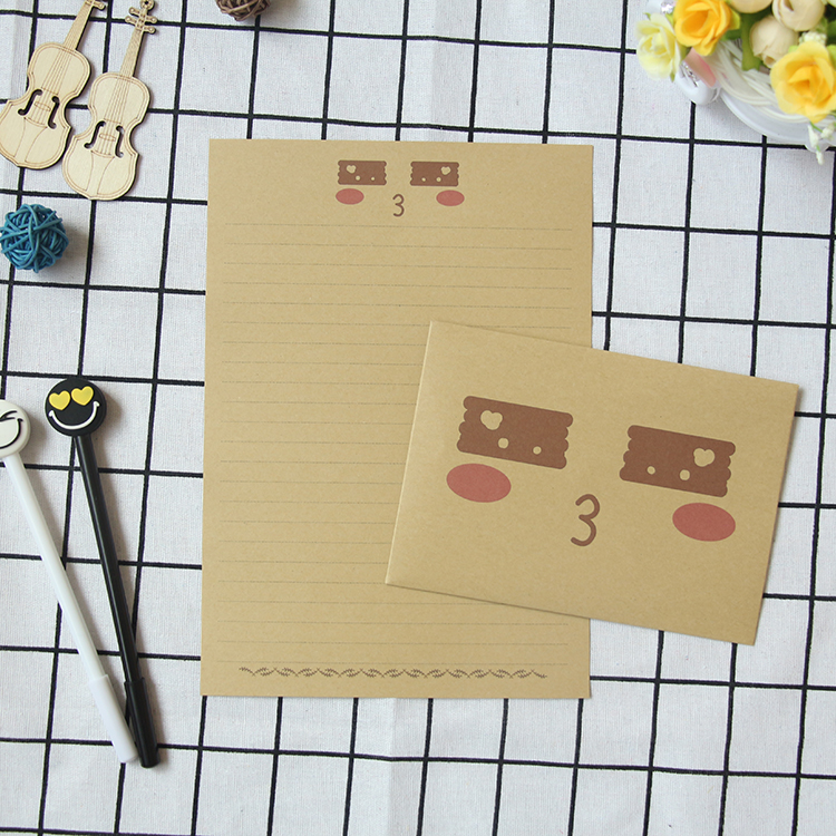 10 Sets/lot 20 Styles Envelope & Letter Paper Set Funny Facial Expression Gift Card Paper Envelopes Kraft Paper Brown Seed Bags