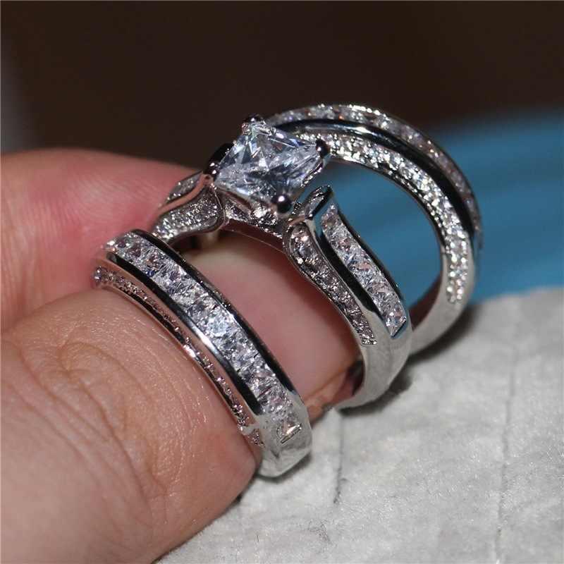 חמוד נקבה 3pcs זירקון חתונה טבעת סט קריסטל כסף צבע צהוב זהב כלה טבעת תכשיטי טבעות אירוסין הבטחת עבור נשים