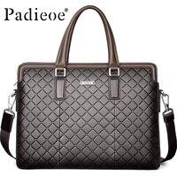 Padieoe Luxury Genuine Leather Briefcase For Documents Fashion Diamond Lattice Business Men S Leather Handbag 14