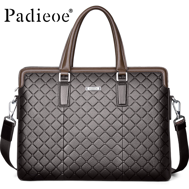 Padieoe Luxury Genuine Leather Briefcase for Documents Fashion Diamond Lattice Business Men's Leather Handbag 14 Inch Laptop Bag
