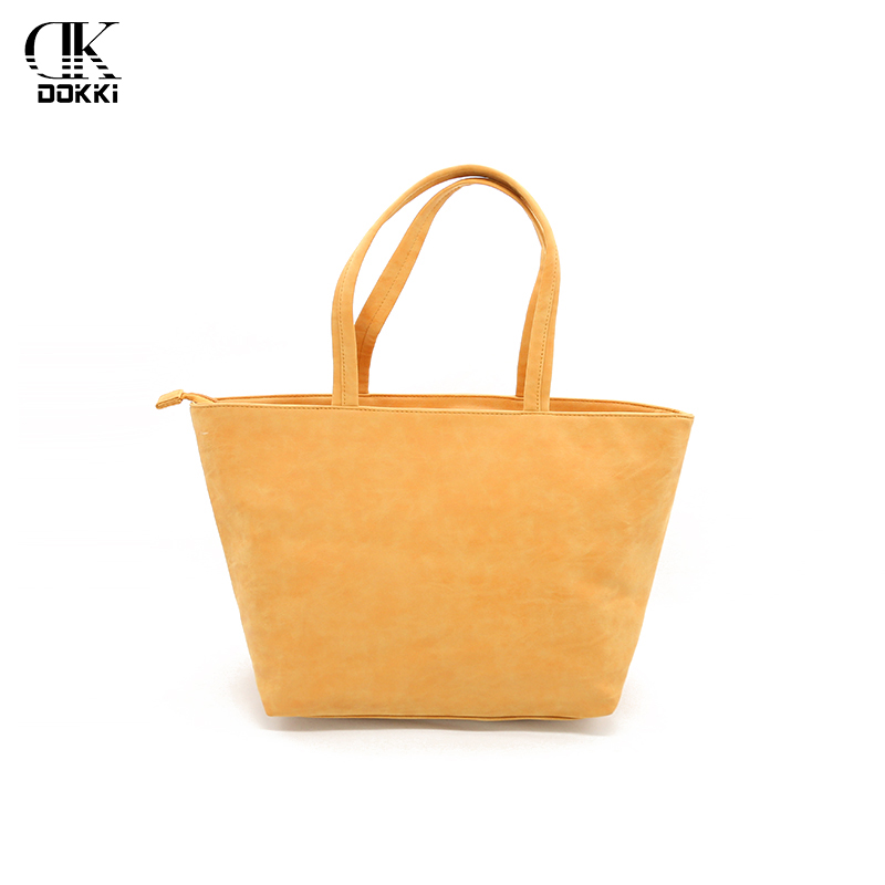 DOKKI Women's PU Leather Handbags Female Designer Luxury Lady Tote Large Capacity Zipper Casual Totes For Women New Style