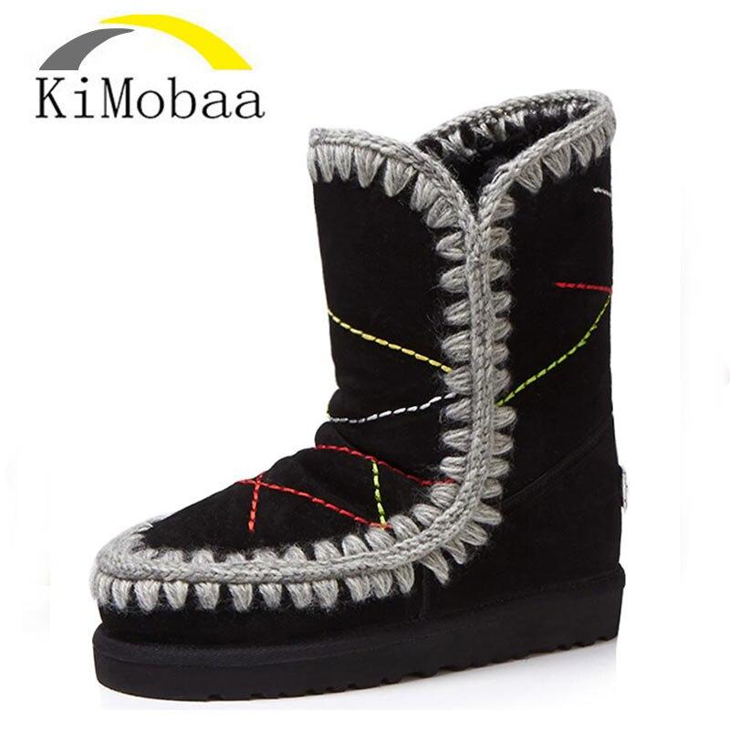Kimobaa Genuine Leather Snow Boots Warm Wool Women Boots Winter Boots Russia Big Size 33-43 Cow Suede Booties Low Heel TX183 цены онлайн