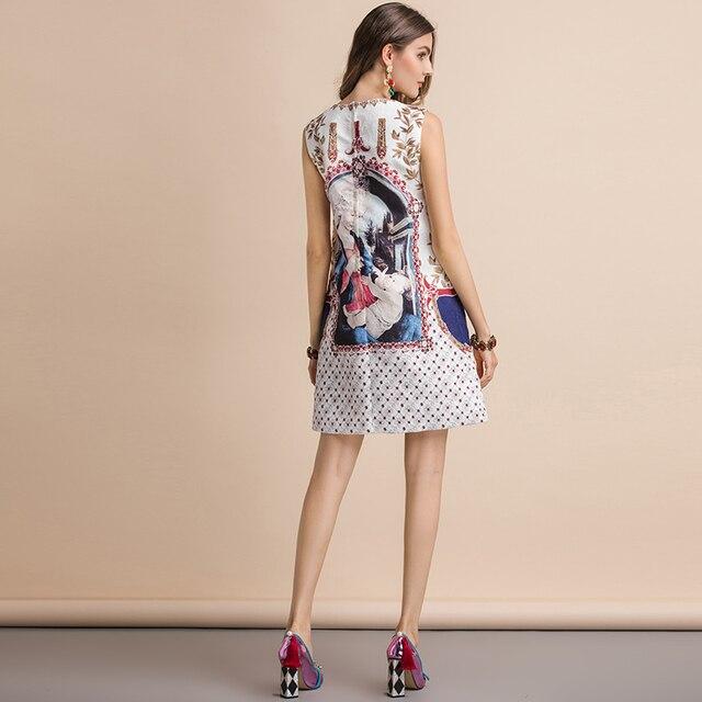 Vestido mini corte recto suelto estampado vintage verano apliques 2
