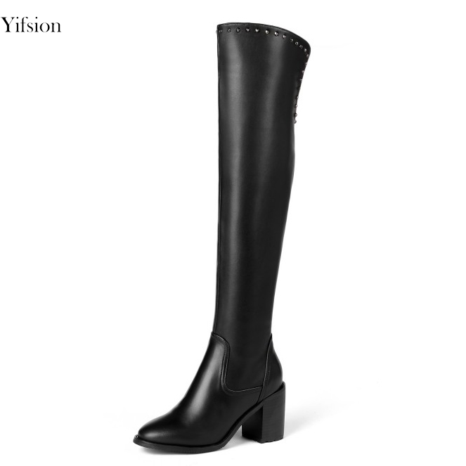 Yifsion New Fashion Women Over The Knee Leather Boots Sexy Square Heels Boots Pointed Toe Black Party Shoes Women US Size 3-13Yifsion New Fashion Women Over The Knee Leather Boots Sexy Square Heels Boots Pointed Toe Black Party Shoes Women US Size 3-13