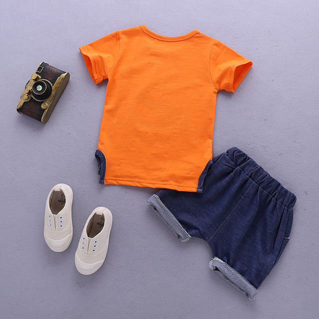 Newborn Orange And Blue Clothing Set For Baby Boy 4