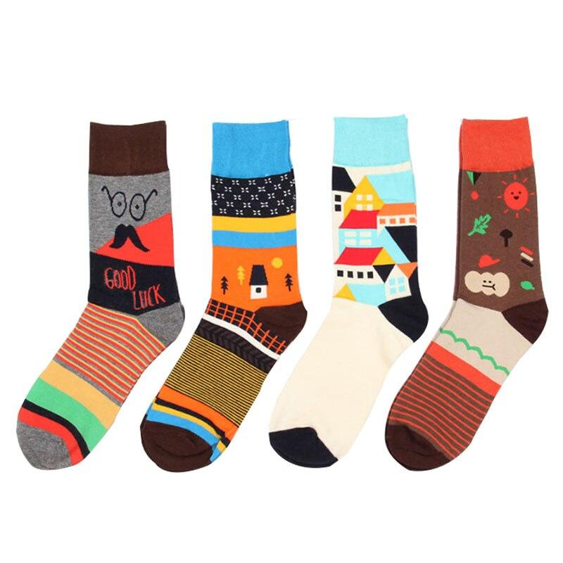 6 Pairs Unisex Harajuku Cute Cartoon Creative Happy Funny Socks Men Women High Quality Cotton Socks Couple Socks Crew EUR 34-43