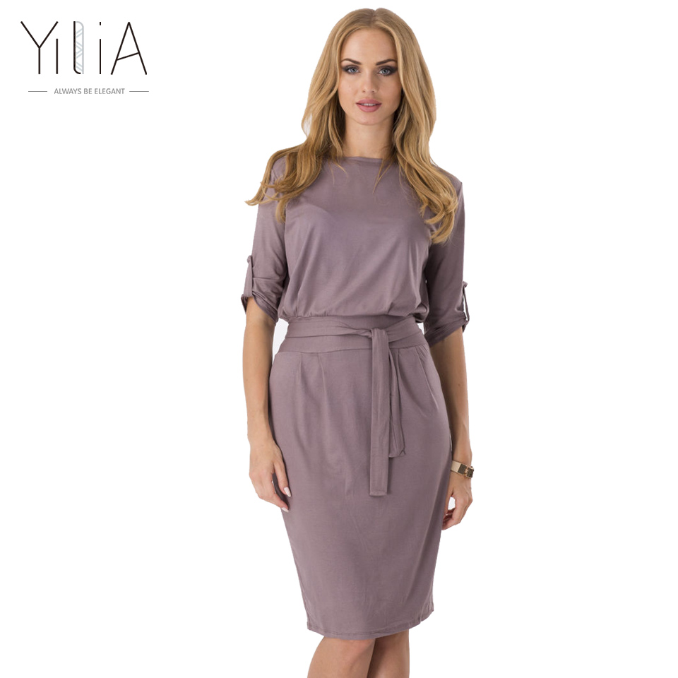 yilia Official Store Yilia 2017 Summer Solid Pencil Dress Women Belt Sleeve Adjuster Office Style Vintage Casual Puff Sleeve Dress 2XL Black Pink Red