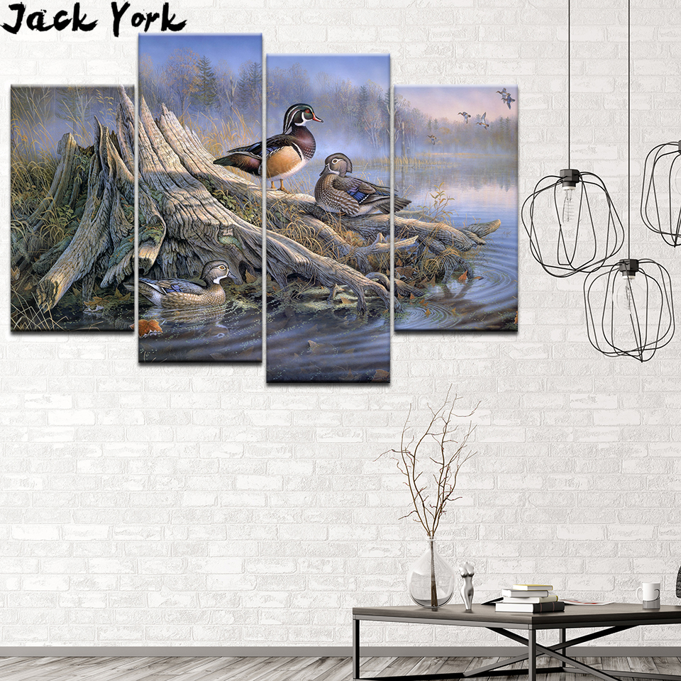 Canvas Painting Ducks In The Autumn Lake 4 Pieces Wall Art Modular Wallpapers Poster Print for living room Home Decor