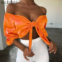 Satin Slik Crop Top Sexy Bow Tie Women V Neck Off Shoulder Tank Top Summer Streetwear Solid Backless Neon Party Club Tops 2019 недорого