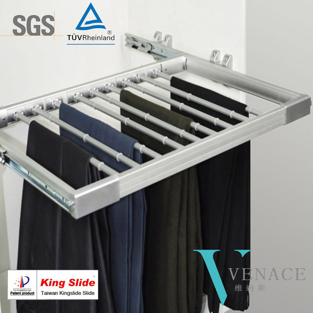 Wardrobe Accessories Pull Out Trouser Rack With Movable Trousers Rods And Anti Slip O