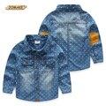 Nueva Moda Niños Camisas Para Los Muchachos 90-140 CM Altura Del Bebé ropa de Otoño Primavera de Manga Larga Pájaro Completa Prints Denim Camisa Casual