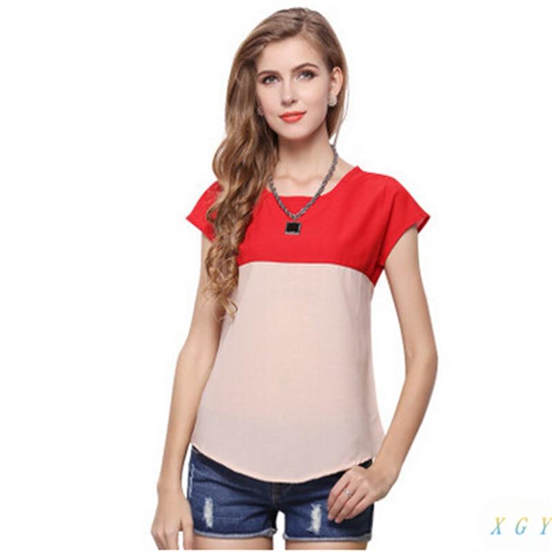 Женская шифоновая рубашка, свободная, с коротким рукавом
