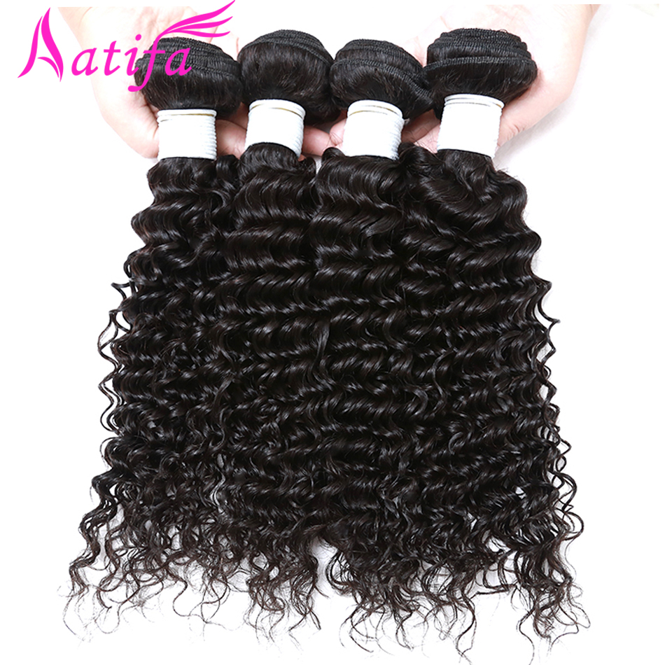 3 փաթեթ բրազիլական խորը ալիքի մազեր - Մարդու մազերը (սև) - Լուսանկար 2