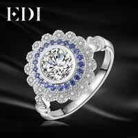 EDI Genuine Natural Sapphire Halo 0.8ct Taglio Rotondo Moissanite 14 K 585 Oro Bianco Nuziale Anello di Fidanzamento Per Le Donne Belle gioielli