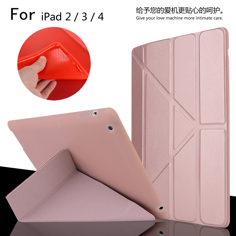 For iPad 2 / 3 / 4 High Quality Ultra Slim Smart Sleep Deformation TPU Leather Case Cover For iPad2/3/4 + Film + Stylus