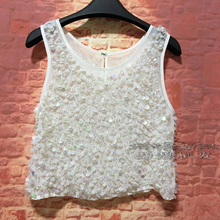 Bustier Crop Top Tops Boutique Hand-pinned Bead Sequins Pearl Ultra-flash Four Seasons Round Neck Sleeves Short Paragraph Vest