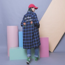 Fashion vintage color block check embroidery flower letter loose plus size bf long design single breasted outerwear polo