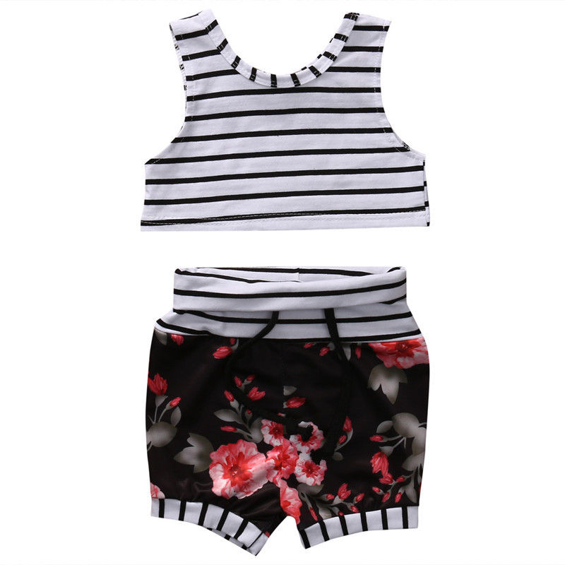 Hot sales 2PCS Newborn Infant Baby Girls Clothes Outfit Summer Sleeveless Vest Tops +Floral Pants Baby Clothing Set
