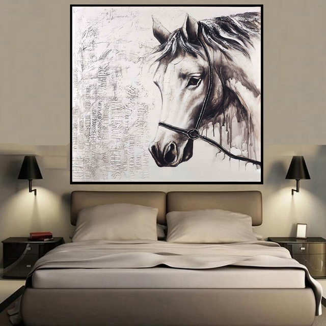 Factory Sale Horse Head Animal Style Wall Art Oil Painting Home Decoration Bedroom  Living Room Paintings Part 69