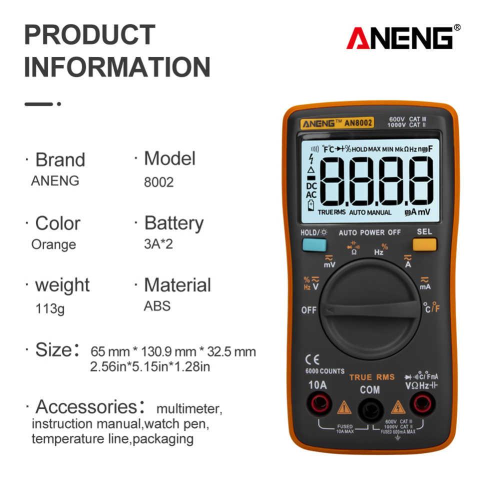 AN8002 Цифровой мультиметр 6000 отсчетов транзисторный конденсатор тестер ESR