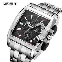 MEGIR оригинальные Роскошные мужские часы из нержавеющей стали Мужские кварцевые наручные часы бизнес большой циферблат наручные часы Relogio Masculino 2018