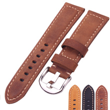 HENGRC Watchbands 22mm 24mm Italy Genuine Leather Watch Strap Black Brown Yellow Women Men Cowhide Wrist Band Belt Wiht Buckle 22mm 24mm genuine leather watch band for panerai luminor radiomir butterfly buckle strap wrist belt bracelet black brown tool