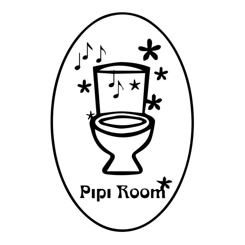 Funny Stickers French Pipi Room Toilet WC Sign Door Wall Sticker Home Decor Wall Decals House Decoration Mural Wall Art 25X35cm