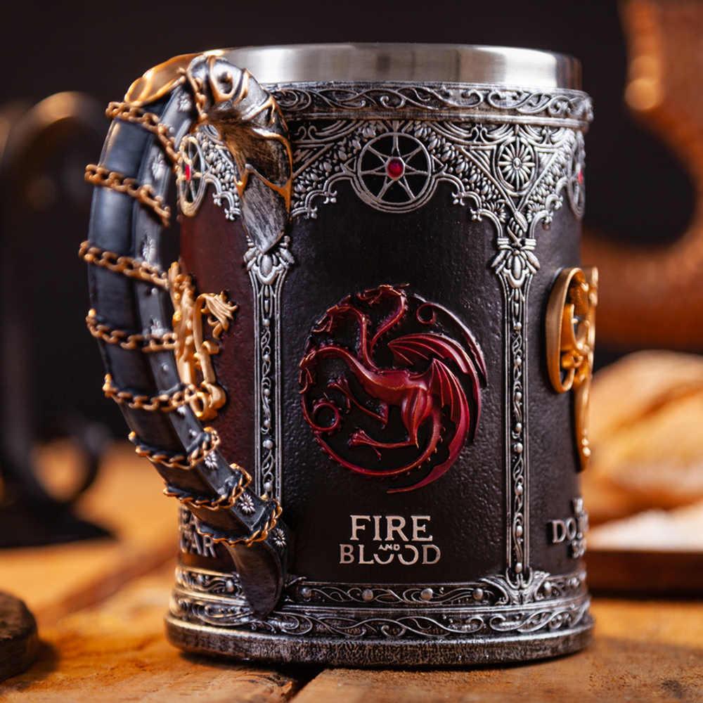 Game Of Thrones Tazza Calice in Acciaio Inox Resina 3D di Birra Boccale di Vino Tazza di Caffè Tazze di Vetro 600 Ml 400 Ml 200 Ml Migliore Ottenuto Fan Regalo