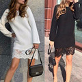 Women Autumn Winter Vestidos 2016 Fashion New Lace Patchwork O neck Long Sleeve Solid Straight Mini Dress Casual Lady Dresses