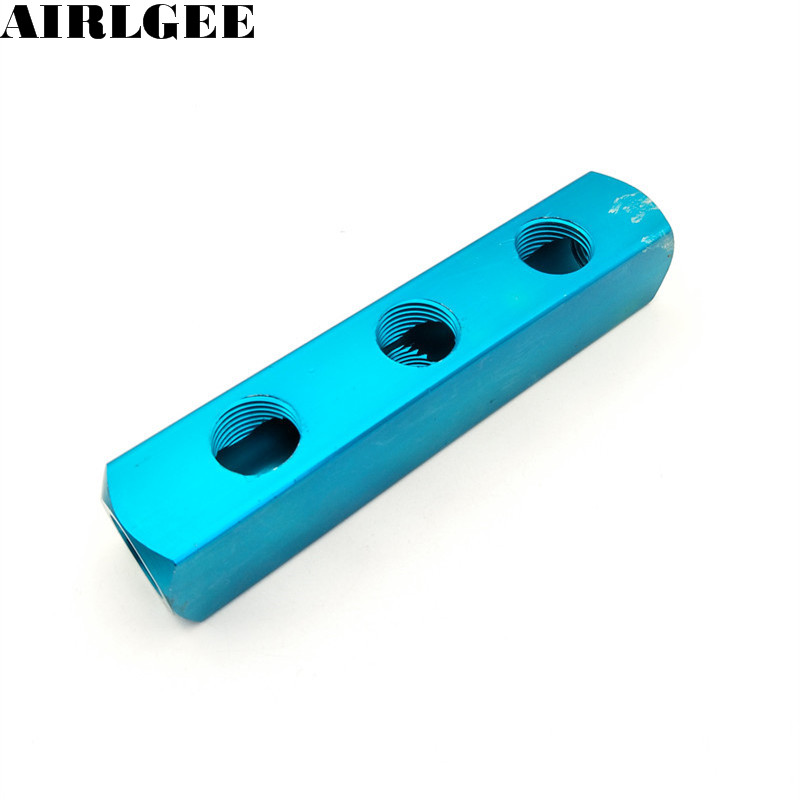 1/2 PT Thread 6 Ports 3 Ways Quick Connector Air Hose Manifold Block Splitter air compressor 1 2bsp 2 way hose pipe inline manifold block splitter teal blue