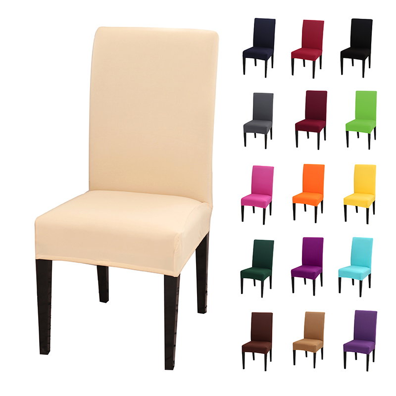 Stretch Spandex Removable Dining Room Chair Covers Slipcover Living Room Home Party Wedding Decoration Chair Cover Solid Color