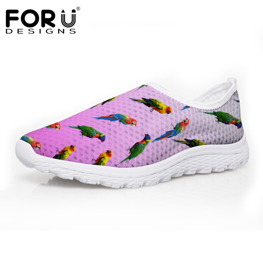 FORUDESIGNS Summer Women Casual Shoes Fashion Parrot Puzzle Design Women's Breathable Mesh Shoes Flats Ladies Beach Shoes Woman free shipping candy color women garden shoes breathable women beach shoes hsa21