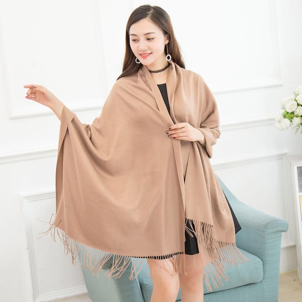 2017 Women Winter Cashmere shawls and   wraps   Blend Pashmina Solid Tassel Shawl   Wrap     Scarves   relogio feminino yf3