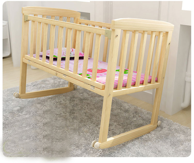 Baby Crib Saplings Glider Lockable Cradle Child Nursery Furniture Solid Wood Sleeping Independent Portable
