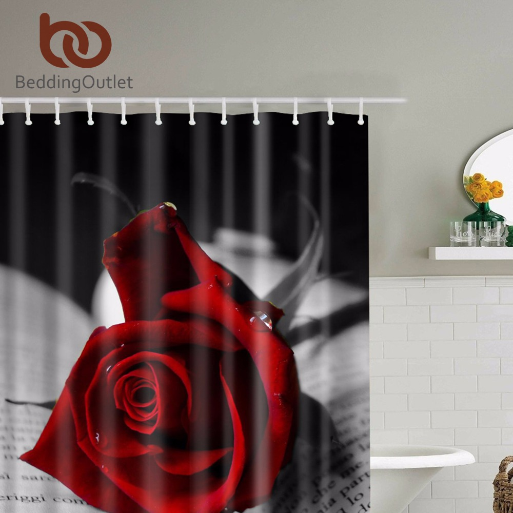 BeddingOutlet Red Roses With Black Leaves Shower Curtain Romantic Bathroom Curtains Fabric Set Hooks 71x71 180cm