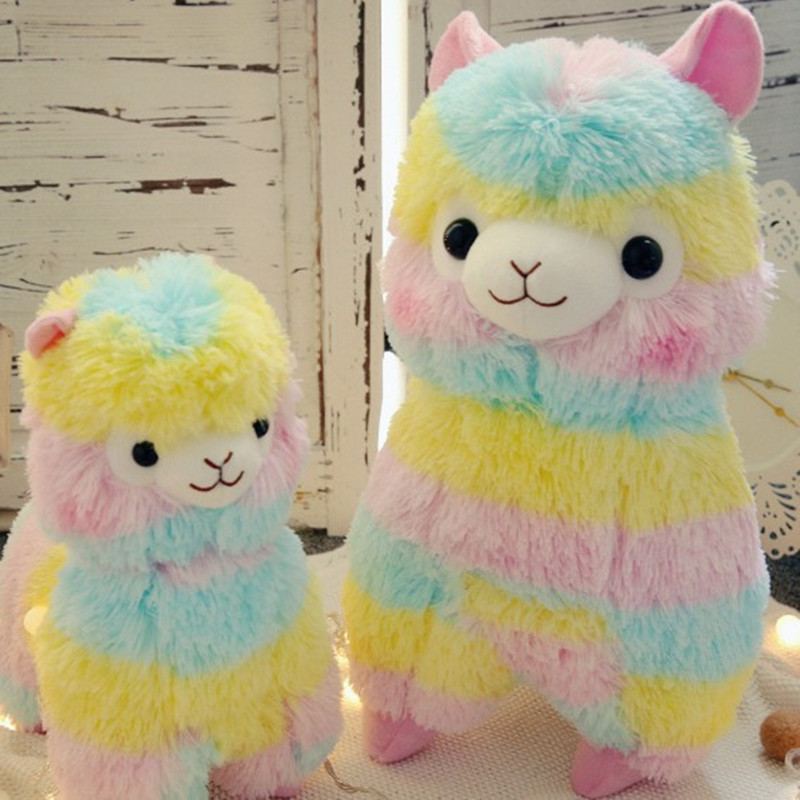 1pcs 20 Cm Cartoon Lovely Rainbow Alpaca Plush Toy Soft Plush Alpacasso Sheep Stuffed Toy Gifts For Kids And Girls