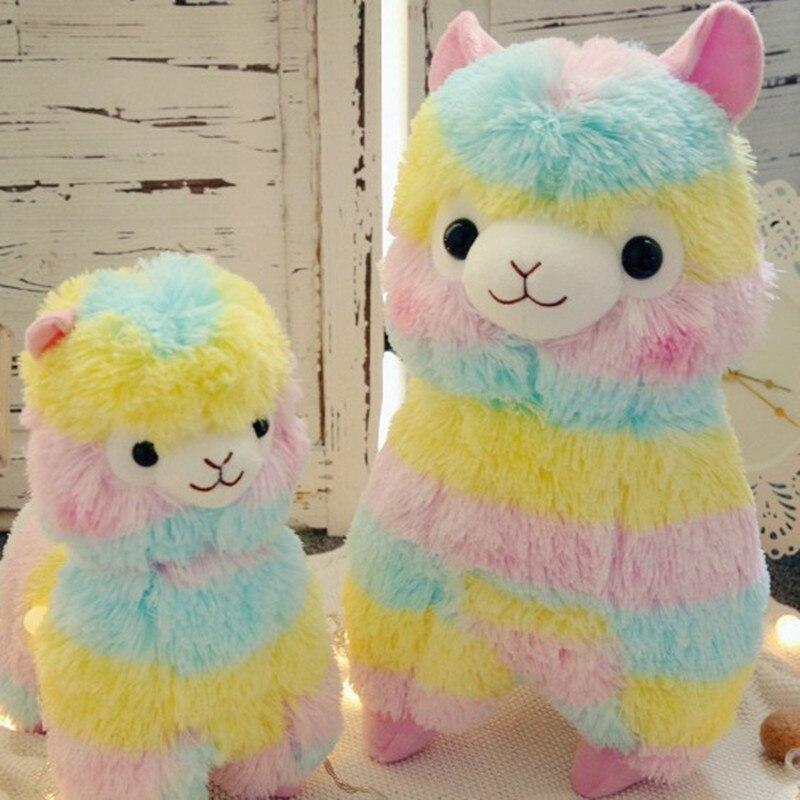 1pcs 20 Cm Cartoon Lovely Rainbow Alpaca Plush Toy Soft Plush Alpacasso Sheep Stuffed Toy Gifts For Kids And Girls