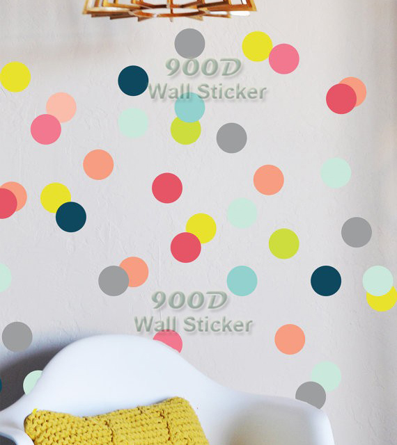 buy polka dots wall stickers wall decals removable home decoration art wall. Black Bedroom Furniture Sets. Home Design Ideas