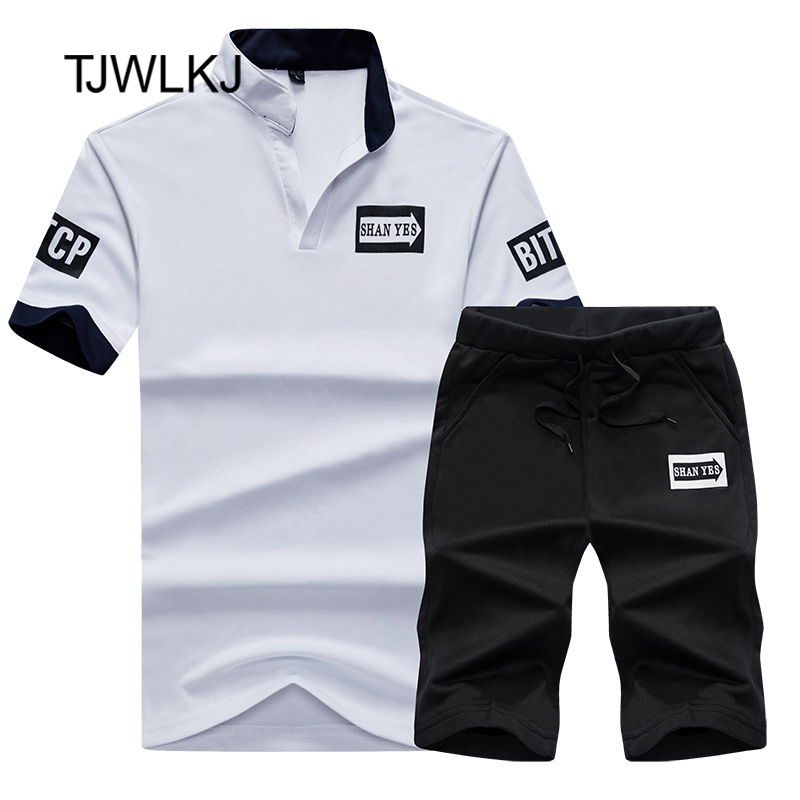 TJWLKJ T Shirt+Shorts Sets Men Letter Printed Summer Suits Casual Tshirt Tracksuits Brand Clothing Streetwwar Tops Tees Set Male