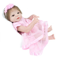 alive Newborn Doll Silicone Baby doll 55cm Rooted Mohair babies Reborn Dolls and Pink hair band vinyl bath Toy Girl XMAS Gift