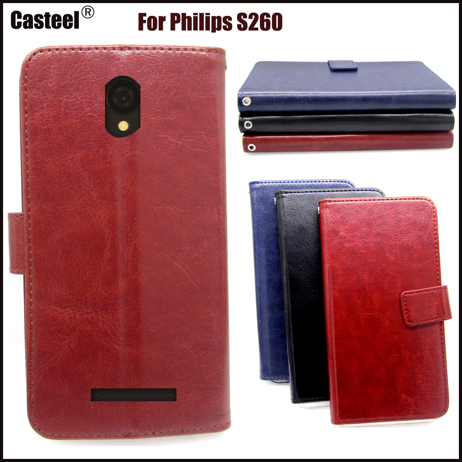 Casteel Classic Flight Series high quality PU skin leather case For Philips S260 Case Cover Shield