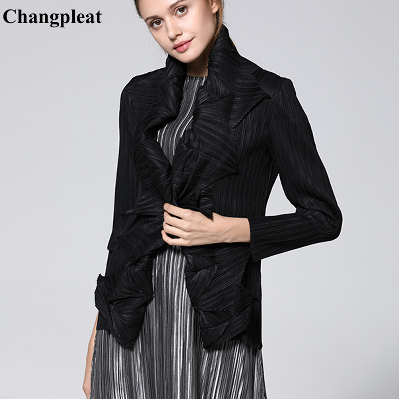 Changpleat 2019 Spring Summer New Women   Basic     Jackets   Coat Miyak Pleated Fashion Design Black Big elastic Female Cardigan coats