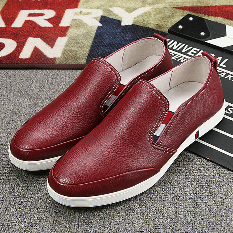 Brand Men Shoes Loafers Red Genuine Leather Comfy Casual Shoes Italian Luxury Designer Shoes Slip On White Sole Student Shoes high end breathable men casual shoes loafers genuine leather lace up rubber handmade slip on sewing lazy shoes italian designer