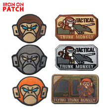 Tanks Monkey Tactical Trunk Monkey Patches Morale Military Embroidered Patch Hook & Loop Armband Epaulette Button Badge for Coat embroidered patches united states montana state flag patch tactical 3d national flags army armband badge