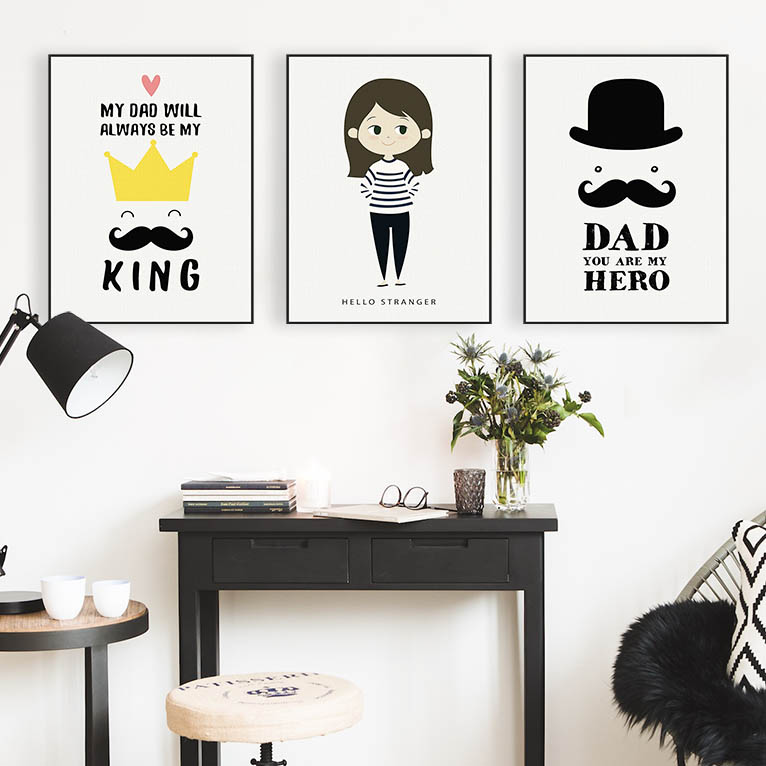 Big Deal Modern Hippie Father Dad Family Love Quotes Posters Nordic ...