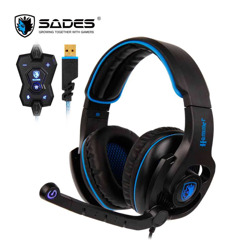 SADES HAMMER Gaming Headset USB Headphones Virtual 7 1 Surround Sound Rotatable Microphone In line Controller