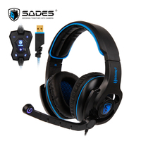 SADES HAMMER Headphones Virtual 7 1 Surround Sound Headset With Rotatable Microphone Multifunctional In Line Controller