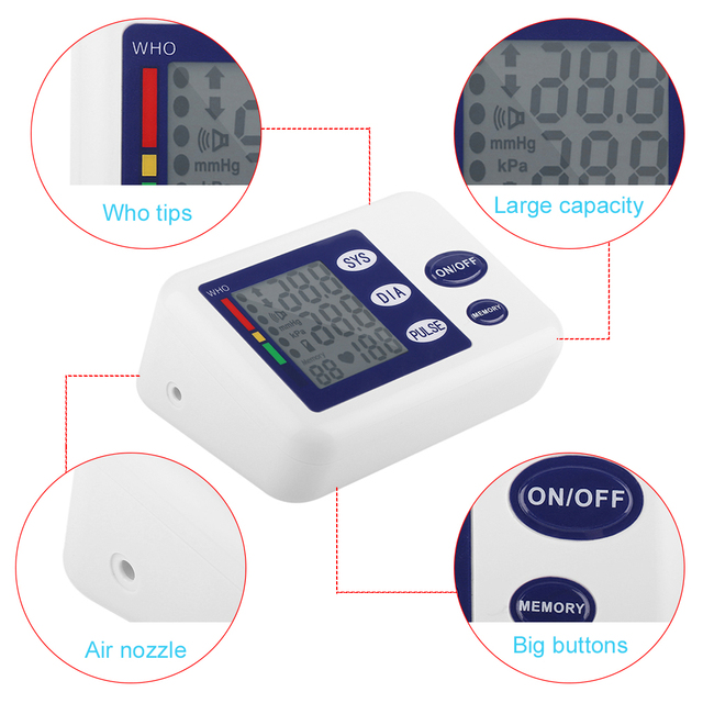 Digital Upper Arm Blood Pressure Monitor Device With Adaptor Health Care Automatic Sphygmomanometer Meter Tonometer oximeter 3