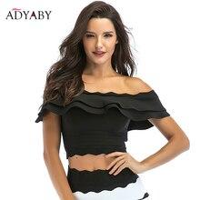 De hombro para las mujeres Verano de 2019 nuevas llegadas moda volantes blusas de damas de la celebridad Sexy Tops negro blanco azul