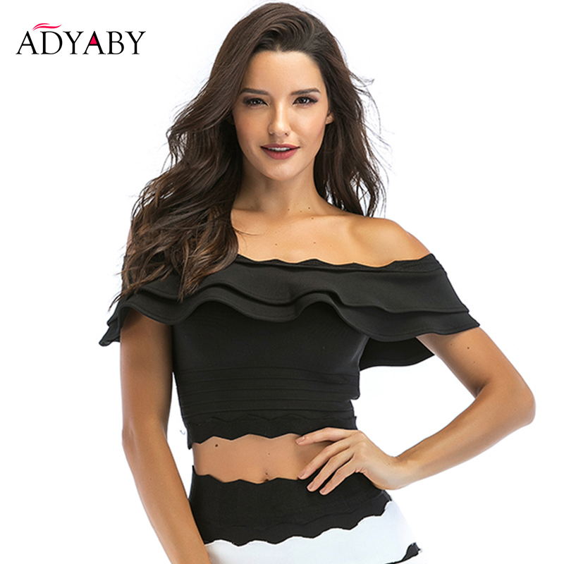 Off Shoulder Tops For Women Summer 2019 New Arrivals Fashion Ruffle Blouses Ladies Sexy Celebrity Crop Tops Black White Blue